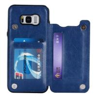 Quality Single - Face Holder Galaxy S8 Leather Wallet Case Three Card Slot Special Design for sale