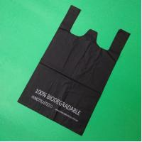 100% biodegradable and compostable Starch T-shirt bag, black color, size 0.025mm x (30+15)x50cm, withstand 5kg Manufactures