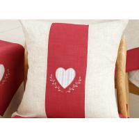 Custom Embroidered Decorative Throw Pillow Covers 100% Linen Heart Pattern Manufactures