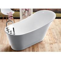 Quality Classic Resin Acrylic Free Standing Bathtub With Faucet Oval Shaped for sale