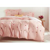 Cute Embroidered Modern Duvet Covers / Shams 4 Pcs 100% Cotton For Home Manufactures