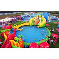 Quality Super Large Inflatable Water Park With Long Ramp / Outside Inflatable Water Slide for sale