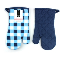 Blue Check Print Canvas Poly Cotton Cheap Custom Microwave Glove Oven Mitt Manufactures