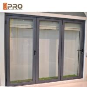 China Black powder coating commercial aluminum folding door with ready mold folding panel doors room doors folding sliding doo on sale