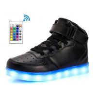 LED Light Up Shoes With Remote Control , Men & Women Leather High Top Led Light Sneakers Manufactures