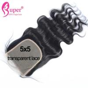 22 Inch Virgin Human Hair Extension Transparent Swiss Lace Top Closure Bleach Knots