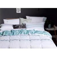 Soft Embroidered Light Blue And White Duvet Cover 4 Pcs For Home / Hotel Manufactures
