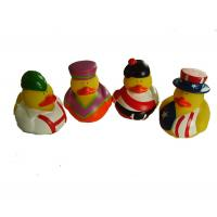 Phthalate Free Vinyl Small Yellow Rubber Ducks With Nation Flag Pattern Manufactures