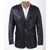 Two Buttons Custom Smart Designer and Fashionable, Plus Size Mens PU Leather Blazers Manufactures