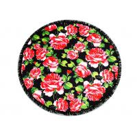 Australian Flowered Bath Towels / Circle Beach Towel Red Rose With Black Tassels Manufactures