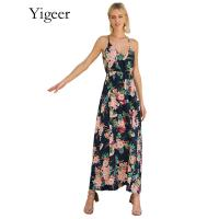 Sleeveless Floral Printed V-neck Long Maxi Dress Manufactures