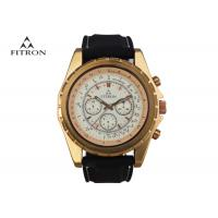 Multifunction Mens Leather Strap Watches , Quartz Black And Gold Watch Customizable Manufactures