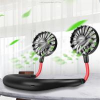 Portable Fan Mini Hand-free Neck Hanging Fan USB Chargeable Wireless Fan With Dual Wind Head 3 Adjustable Speed Level Manufactures