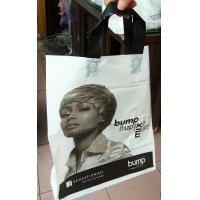 Quality Custom Printed Plastic Bags with Handles For Cosmetics , White / Black for sale