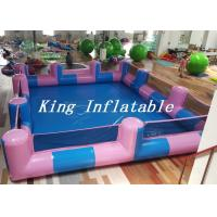 Custom 0.9mm PVC Pool Type Inflatable Swimming Pool With Blue And Pink , 12x8m Manufactures