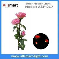 Quality 3LED Pink Solar Powered Rose Flower Light Outdoor Lamp Stake for Home Garden Yard Lawn Pathway Party Decor Landscape for sale
