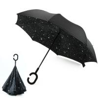 China New Design Factory Price Star Pattern Inside Print Upside-Down Reverse Umbrella on sale