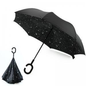 China New Design Factory Price Star Pattern Inside Print Upside-Down Reverse Umbrella on sale