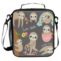 Cartoon Sloth Lightweight Oxford Lunch Bag For Children Manufactures