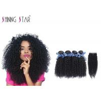 100 Virgin Curly Unprocessed Hair Bundles With Lace Closure In Natural Black