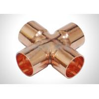 Copper Four Way Cross Refrigeration Pipe Fittings For Plumbing And HVAC System Manufactures