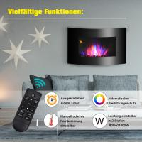 35 Wall Mounted Electric Fireplace Black Curved Tempered Glass  SPACE Heater(Pebbles Fuel) COLORFUL LED FLAME Manufactures