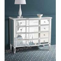White Mirrored Night Stands 3 Curved Wide Drawers Bedroom Suitable Manufactures