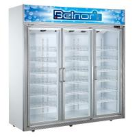 Vertical Supermarket Display Refrigerator , Three Glass Door Commercial Fridge Freezer Manufactures