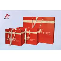Buy cheap Red Art Paper Bags / Colored Paper Gift Bags Middle Hole Glued White Ribbon from wholesalers