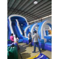 Strong 0.5MM PVC Blue / White Inflatable Slide With Pool 11 * 4 * 5.5m Fireproof Manufactures