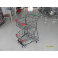 Quality Two Layer Basket Wire 4 Wheel Shopping Trolley / Cart With Color Poweder Coating for sale