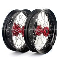 Quality CNC Anodized17 Inch Dirt Bike Supermoto Wheels With Spokes Rims Hubs 36 Holes for sale