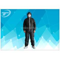 Black Disposable Coveralls Suit Waterproof With Knitted Cuff Manufactures