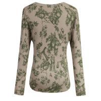 Quality Spring / Autumn Green Flower Water Printed Knitting Sweater With Shell Buttons for sale