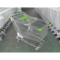 180 Liter Steel Wire Grocery Store Shopping Cart , 4 Wheel Shopping Trolley