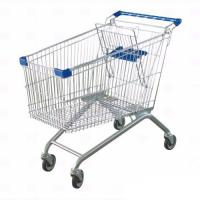 China Steel Material Unfolding Supermarket Trolleys Wire Shopping Basket With Wheels on sale