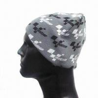 Buy cheap Men's Knitted Sports Hat with All Over Screen Printing, Made of Acrylic from wholesalers