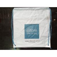 Quality Customized White Plastic Drawstring Backpack Apple Store Shopping Bag for sale