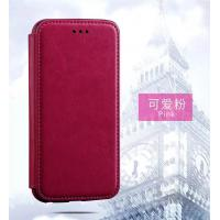 Quality Pink Iphone 6 Plus Leather Wallet Case , Book Cover Protective Magnetic Leather for sale