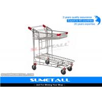 China Two Layer Supermarket Grocery Shopping Cart / Metal Shopping Trolley Heavy Duty on sale