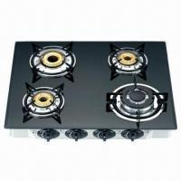 Quality Gas stove black glass gas cooktop with 4 burners for sale