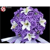 China Artificial wedding decor rose lily mixed bridal bouquet on sale