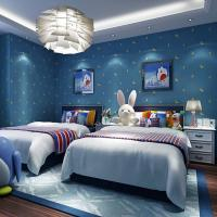 Eco-friendly non woven waterproof cartoon kids room 3d wall paper blue Manufactures