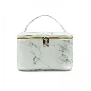 Zipper Closure Ladies Marble PU Leather Makeup Bag Case Manufactures