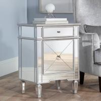 Wooden Trimming Mirrored Side Tables For Bedroom Gold / Silver Optional Manufactures