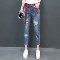 Jeans Fashion holes Flowers Embroideried Cropped Trousers 100%Cotton Blue Manufactures