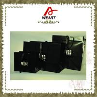 China Fashion Black Custom Paper Shopping Bags With Cotton / Ribbon Handle on sale