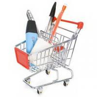 Retail Shop Equipment heavy duty shopping cart with red plastic advertisement board Manufactures