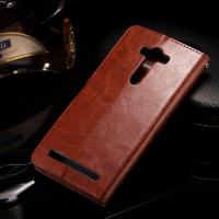 Asus Zenfone 2 Laser Cell Phone Leather Wallet Case Crazy Horse With Custom Logo Manufactures