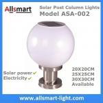 LED Round Solar Pillar Lights White Globular E27 Solar Post Pole Column Light For Community Park School Garden Manufactures